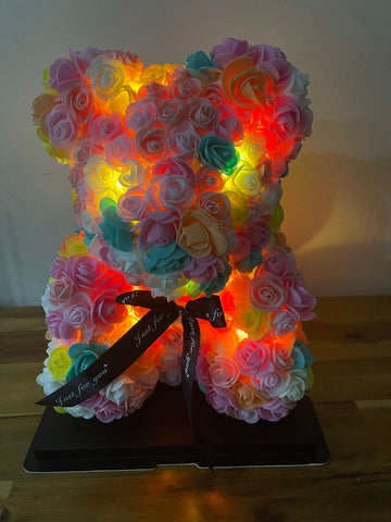 Gorgeous Warm Rainbow Rose Teddy Bear with LED Light and Gift Box - 40cm
