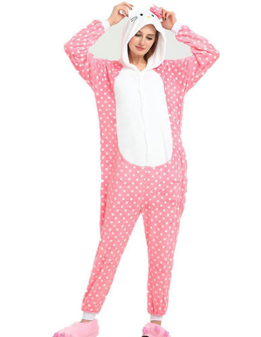 Onesie World Unisex Animal Pyjamas - Dotted Pink Hello Kitty Adult (Cosplay / Nightwear Halloween