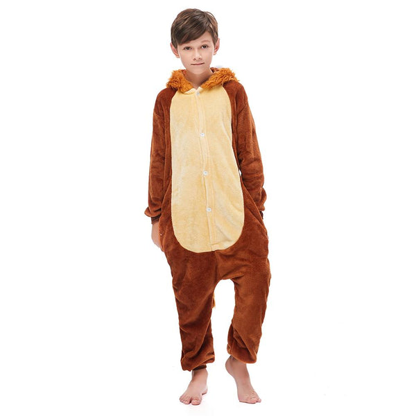 Onesie World Unisex Animal Pyjamas - Furry Lion Kids (Cosplay / Nightwear Halloween Carnival Novelty