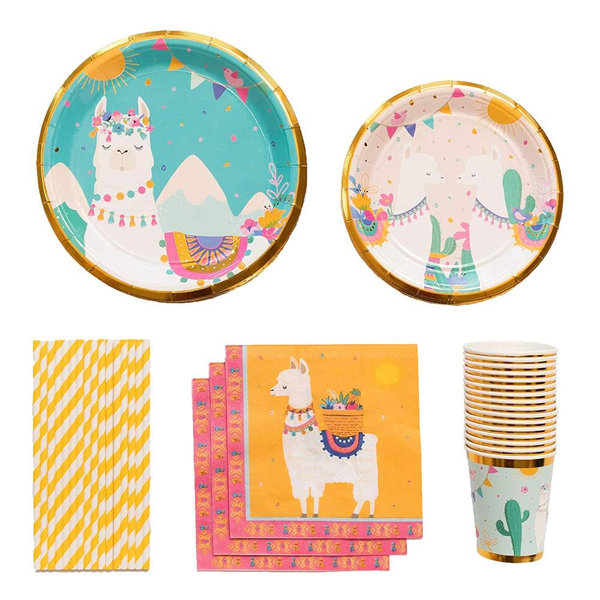 Llama Theme Birthday Party Cutlery Package (#Type A)