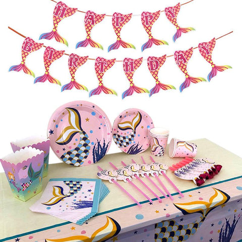 Mermaid Theme Birthday Party Tableware Package (#Type D)