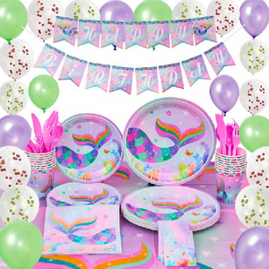 Mermaid Theme Birthday Party Tableware Package (#Type A)