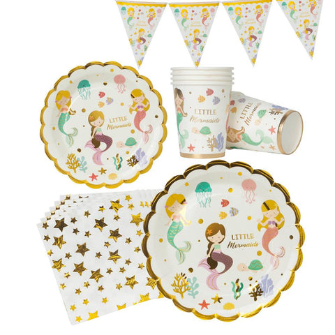 Mermaid Theme Birthday Party Tableware Package (#Type C)