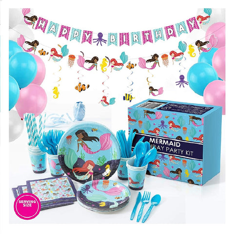 Mermaid Theme Birthday Party Supplies Basic Package (#Type A)