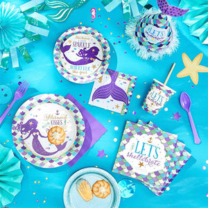 Mermaid Theme Birthday Party Tableware Package (#Type E)