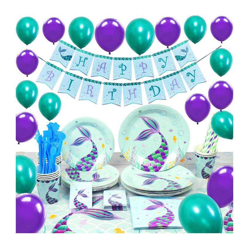 Mermaid Theme Birthday Party Tableware Package (#Type B)