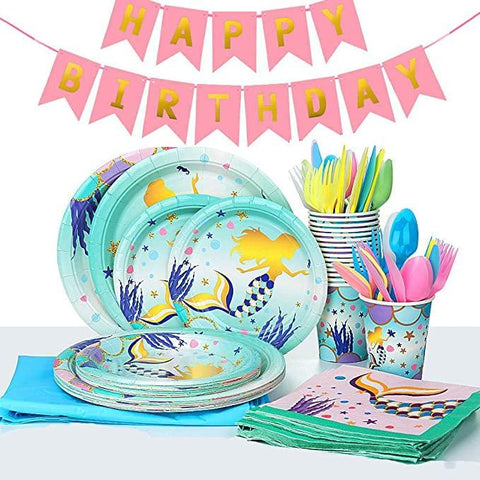 Mermaid Theme Birthday Party Tableware Package (#Type F)