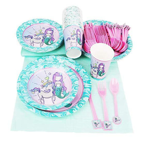 Mermaid Theme Birthday Party Cutlery Package (#Type C)