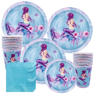 Mermaid Theme Birthday Party Cutlery Package (#Type D)
