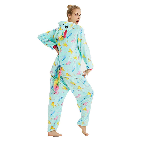 Onesie World Unisex Animal Pyjamas - Mint Unicorn (With Unicorns Pattern Print) Adult Onesies