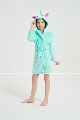 Onesie World Dressing Gown - Mint Unicorn Kids Bathrobe