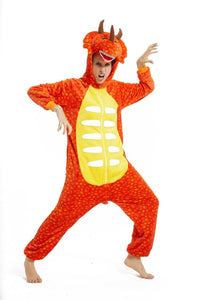 Onesie World Unisex Animal Pyjamas - Orange Triceratops Dinosaur Adult Onesie (Cosplay / Nightwear / Halloween / Carnival / Novelty Costume)
