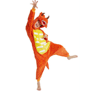 Onesie World Unisex Animal Pyjamas - Orange Triceratops Dinosaur Kids Onesie (Cosplay / Nightwear / Halloween / Carnival / Novelty Costume)