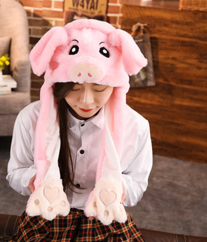Cute Movable / Jumping Dancing - Ear Pink Piggy Funny Hat With Led Light Animal Hats