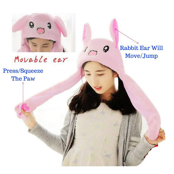 Bunny Pop/ Cute Movable / Jumping Dancing - Ear Pink Hat With Led Light Animal Hats