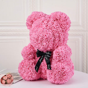 Gorgeous Pink Rose Teddy Bear with Gift Box - 25cm