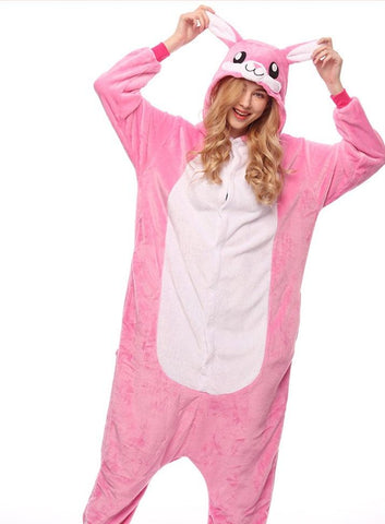 Onesie World Unisex Animal Pyjamas - Furry Pink Bunny Adult (Cosplay / Nightwear Halloween Carnival