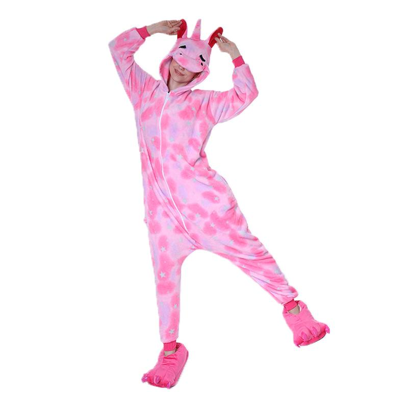 Onesie World Unisex Animal Pyjamas - Pink Star Sleeping Unicorn Adult (Cosplay / Nightwear Halloween