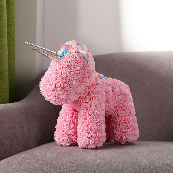 Gorgeous Pink Rose Unicorn with LED Light and Gift Box - 40cm