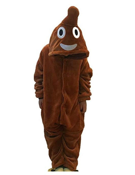 Onesie World Unisex Animal Pyjamas - Brown Poop Emoji Kids (Cosplay / Nightwear Halloween Carnival