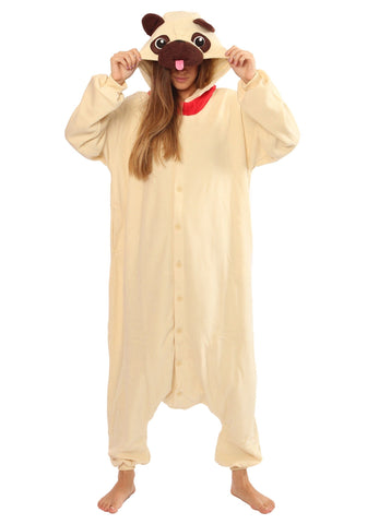 Onesie World Unisex Animal Pyjamas - Pug Dog Adult (Cosplay / Nightwear Halloween Carnival Novelty