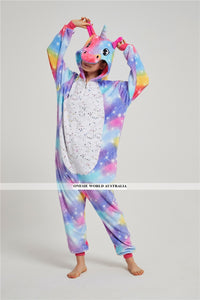 Onesie World Unisex Animal Pyjamas - Purple-Yellow Unicorn with Sparkling Stars Adult Onesie