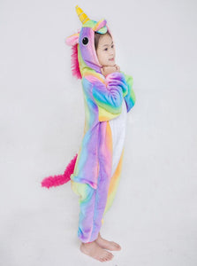 Onesie World Unisex Animal Pyjamas - Colourful Rainbow Striped Unicorn Kids (Cosplay / Nightwear