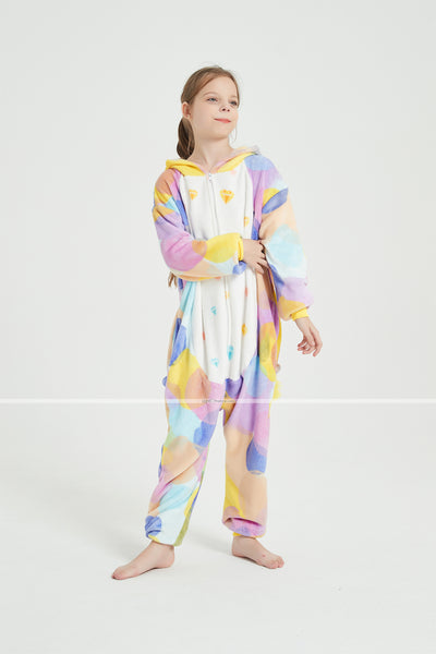 Onesie World Unisex Animal Pyjamas - Rainbow Circles Unicorn Kids Onesie (Cosplay / Nightwear / Halloween / Carnival / Novelty Costume)