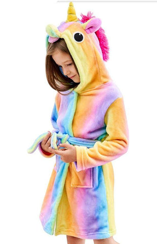 Onesie World Unisex Animal Pyjamas - Colourful Rainbow Striped Unicorn Kids Bathrobe (Cosplay /