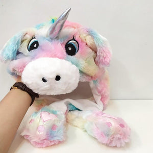 Cute Movable / Jumping Dancing - Ear Pastel Rainbow Unicorn Funny Hat With Led Light Animal Hats