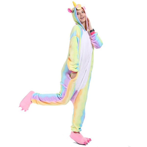 Onesie World Unisex Animal Pyjamas - Rainbow-Stripes Unicorn Adult (Cosplay / Nightwear Halloween
