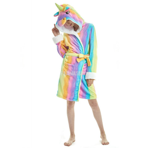 Adult Wearing Striped Rainbow Bathrobe Oneesie