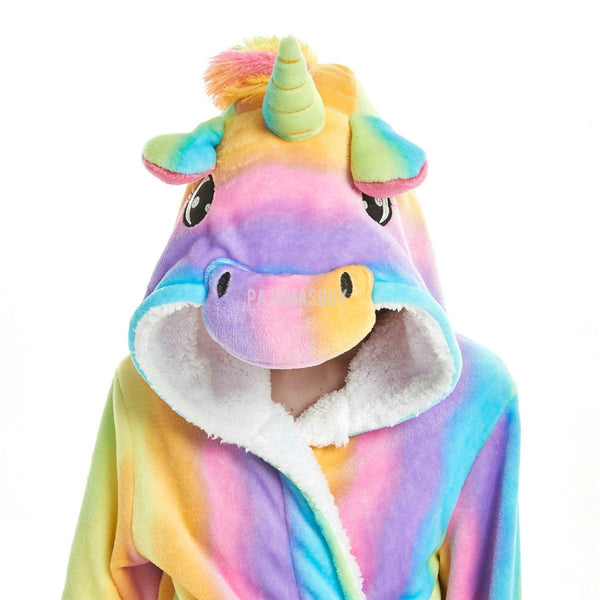 Onesie World Unisex Animal Pyjamas - Colourful Rainbow Striped Unicorn Adult Bathrobe (Cosplay /