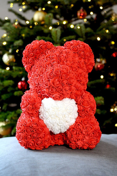 Gorgeous Red Rose Teddy Bear Hugging Heart with LED Light and Gift Box - 40cm