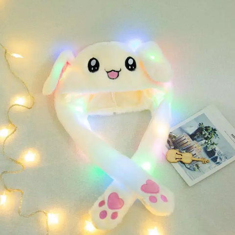Bunny Pop/ Cute Movable / Jumping Dancing - Ear White Funny Hat With Led Light Animal Hats