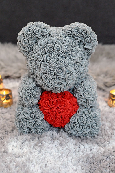 Gorgeous Grey Rose Teddy Bear Hugging Heart with LED Light and Gift Box - 40cm