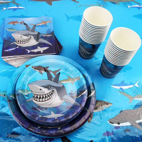 Shark Theme Birthday Party Tableware Package (#Type A)