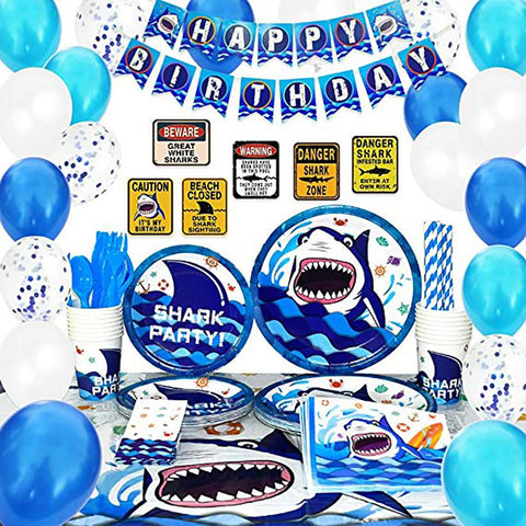 Shark Theme Birthday Party Supplies Premium Package (#Type A)