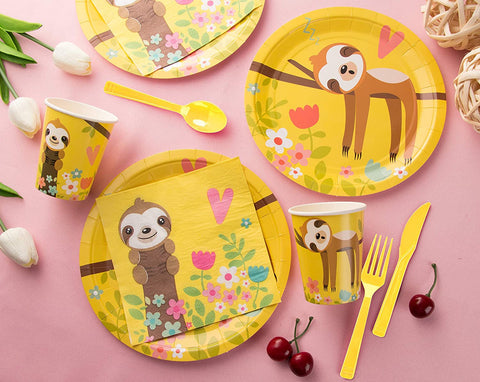 Sloth Theme Birthday Party Cutlery Package