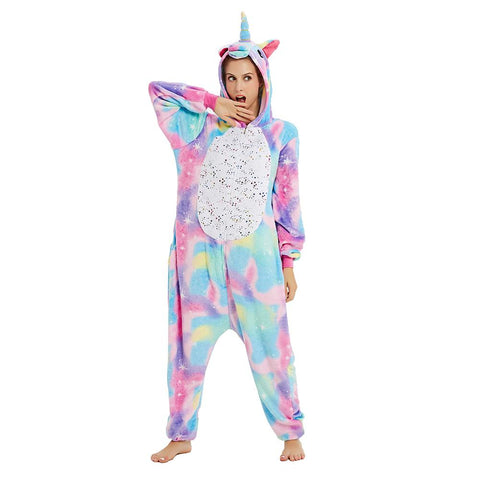 Onesie World Unisex Animal Pyjamas - Rainbow Unicorn With Sparkling Stars Adult (Cosplay / Nightwear
