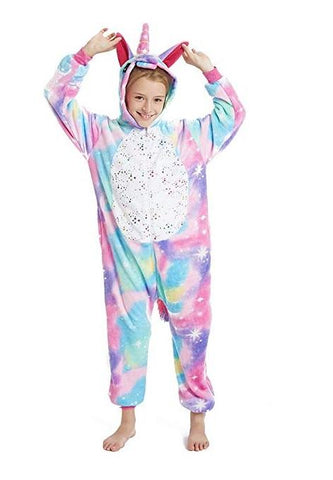 Onesie World Unisex Animal Pyjamas - Rainbow Unicorn With Sparkling Stars Kids (Cosplay / Nightwear
