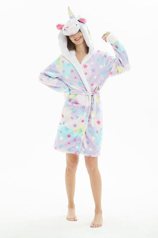 Onesie World Unisex Animal Pyjamas - Rainbow Star Unicorn Adult Bathrobe (Cosplay / Nightwear