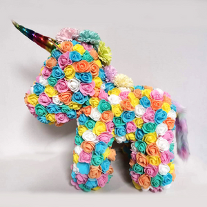 Gorgeous Rainbow Rose Unicorn with LED Light and Gift Box - 40cm