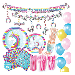 Unicorn Theme Birthday Party Supplies Basic Package (#Type A)