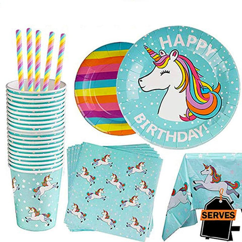 Unicorn Theme Birthday Party Tableware Package (#Type B)