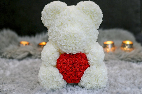Gorgeous White Rose Teddy Bear Hugging Heart with LED Light and Gift Box - 40cm