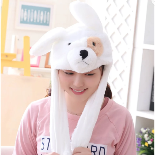 Cute Movable / Jumping Dancing - Ear White Puppy Funny Hat With Led Light Animal Hats