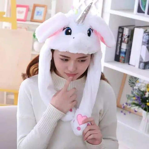 Cute Movable / Jumping Dancing - Ear White Unicorn Funny Hat With Led Light Animal Hats