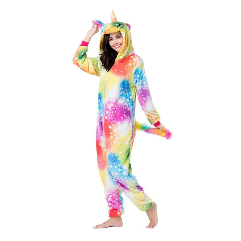 Onesie World Unisex Animal Pyjamas - Yellow Bright Sky Unicorn Adult (Cosplay / Nightwear Halloween