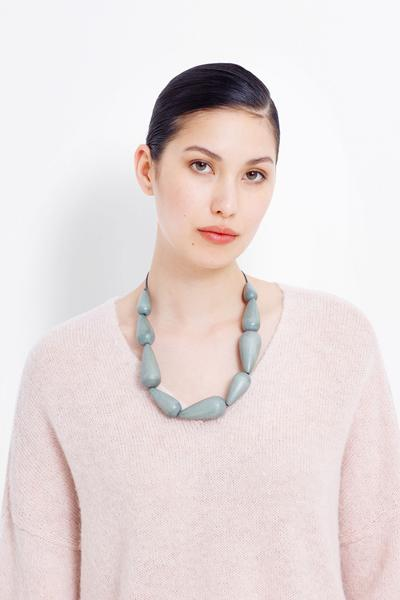 Rive Necklace Chalk Grey Seaweed Peony Leaf Green Dijon Elk The Label
